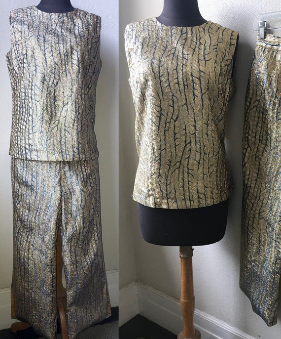 60's Sparkly and Chic Mod Gold Brocade 2pc. Holida