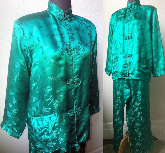 Vtg. Rich Teal Green SILK Satin Jacquard Classic C