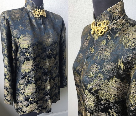 30's Vtg. Amazing Figural Asian Silk Jacquard Chin