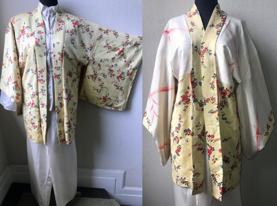 Exquisite Vintage Japanese Silk Print and Hand Pai