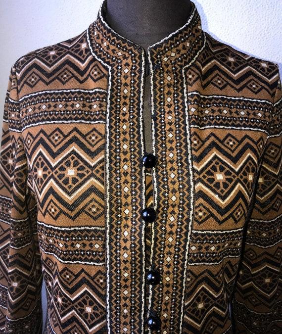60's Vtg. Amazing Graphic Knit Tunic & Pant 2pc. … - image 4