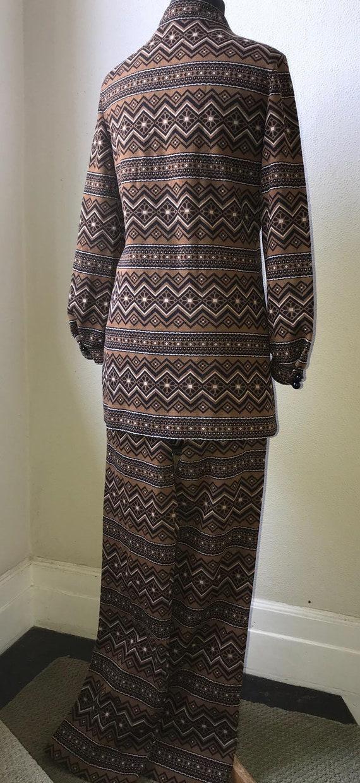 60's Vtg. Amazing Graphic Knit Tunic & Pant 2pc. … - image 7