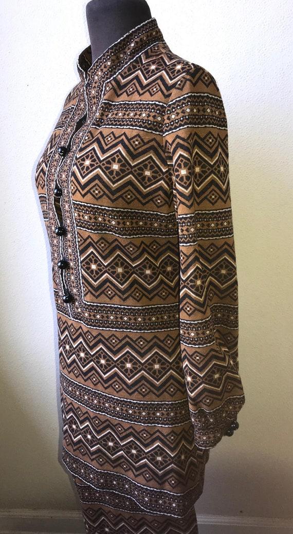 60's Vtg. Amazing Graphic Knit Tunic & Pant 2pc. … - image 3
