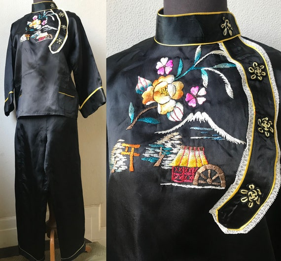 50's  Japanese Hand Embroidered Mt. Fuji Satin Man