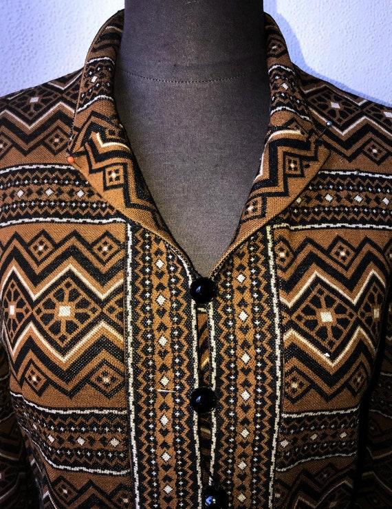 60's Vtg. Amazing Graphic Knit Tunic & Pant 2pc. … - image 2