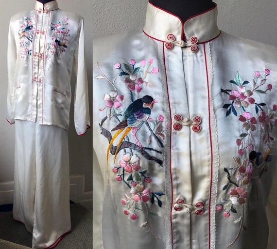 50's Flawless Hand Bird Embroidered Japanese Silk