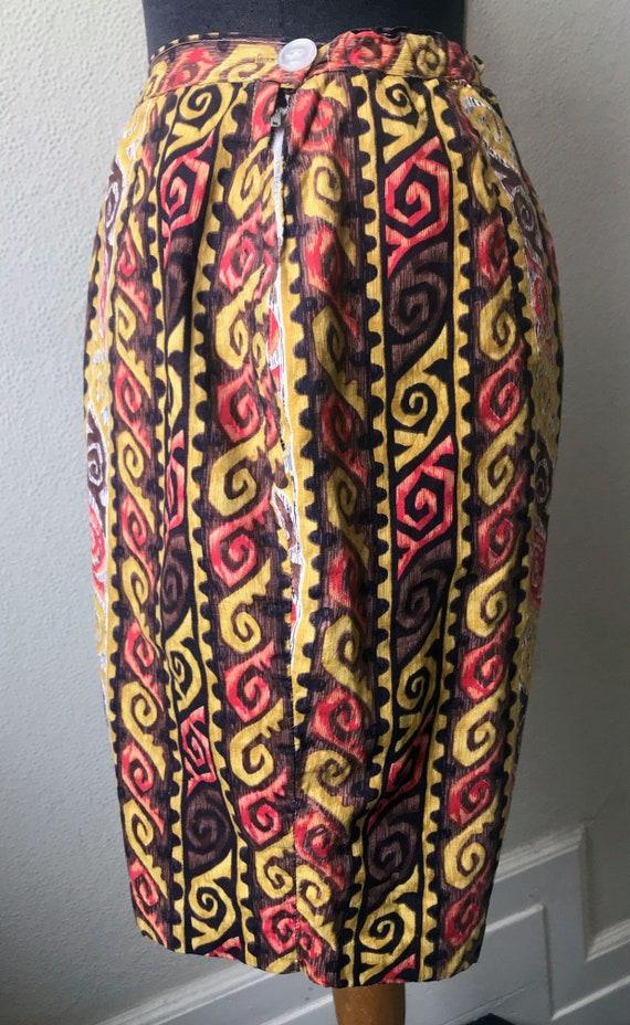 50's Coolest Hawaiian Tiki Print Cotton Bermuda S… - image 3