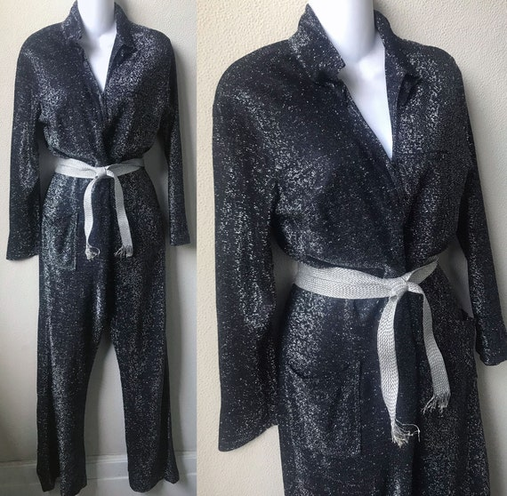 60's  Cool Sparkly Lurex Knit Long Sleeve Front Zi