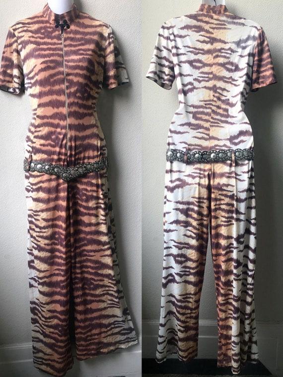 70's Sexy Cat Suit Tiger Print Zip Front Hip Belt