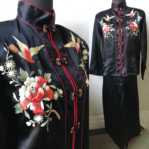 30's  Luscious Silk Satin Japanese Bird Embroidere