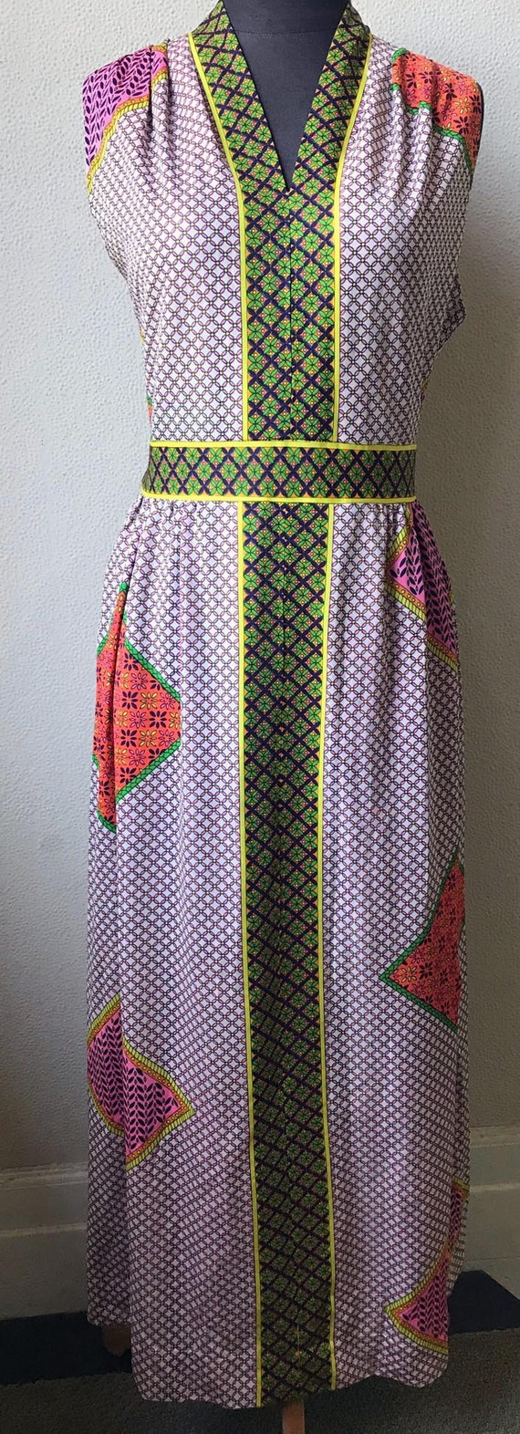 60's Really Cute Patchwork Mod Look Summer Maxi D… - image 5