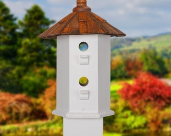 Outdoor Birdhouse Handcrafted Wood Painted Rose With Black