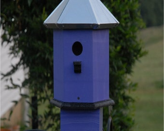 Bird House For Sale Handcrafted Copper Top Painted Storm