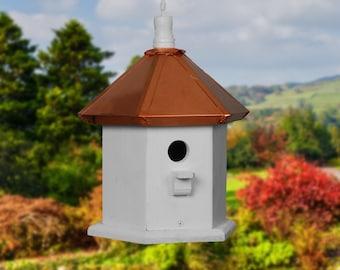 Hanging Bird House, Copper Birdhouses, Painted Birdhouse, Wren Bird Houses, Gift Ideas for Christmas
