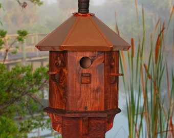 Rustic Bird House Decorative Finch Wooden Birdhouse Farmhouse Style Father's Day Gift