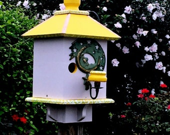 Large Birdhouse, Whimsical Bird House, Handcrafted Bird House, Father's Day Gift, Summer Garden Decor