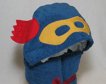 Little BLUE SuperHero Hooded towel - Great Birthday Gift