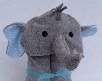 Elephant Hooded Towel Blue Polka Dot Ears
