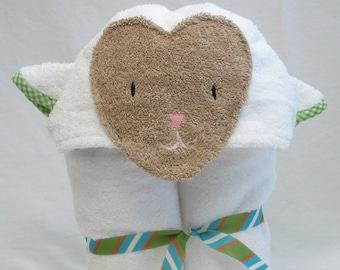 Lamb Hooded Bath Towel - Birthday or Baby Shower Present - White with Green Gingham Trim
