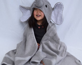 Elephant Hooded Bath Towel- Grey chevron Ears - Perfect gift for Infant / Toddler / Child