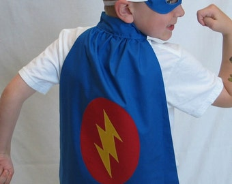 Super Hero Cape and Mask Set - Blue with Lightning Bolt - Great Birthday or Halloween costume