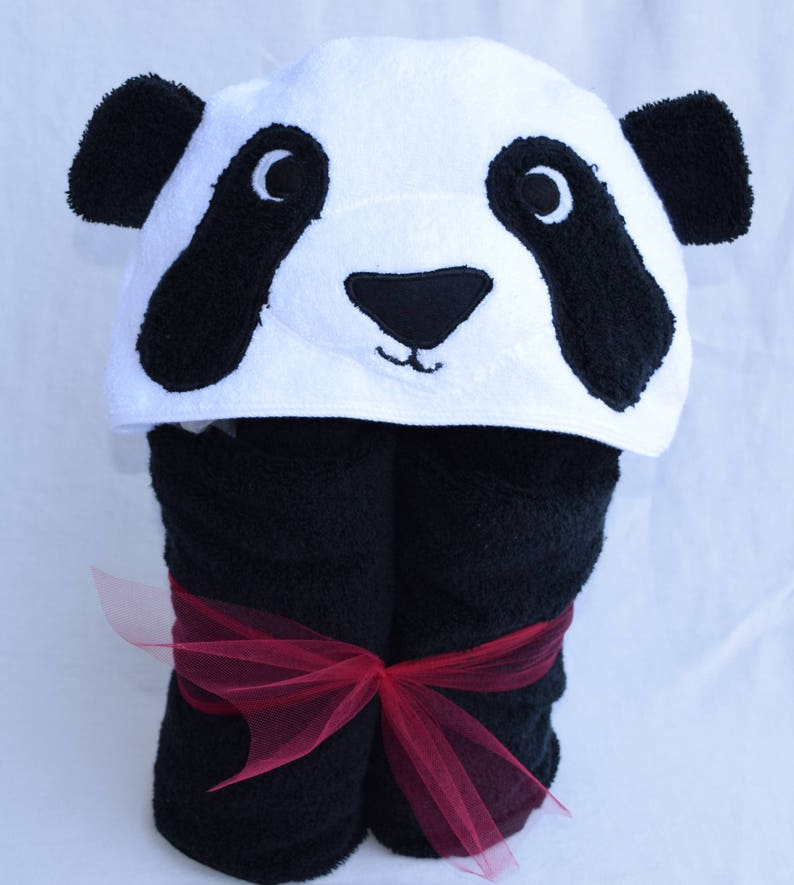 Panda Design and Personalised NAME EMBROIDERED up to Towel Bathrobes Hoody Gift