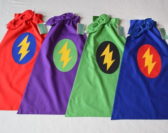 Super Hero Cape and Mask Birthday Present - Flash Lightning Bolt - you choose the colors - Other design choices in shop.