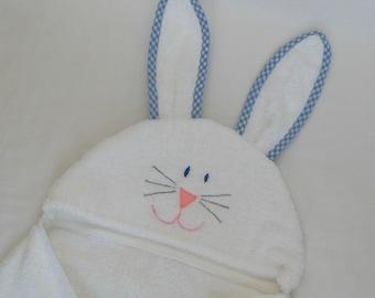 Boy Bunny Rabbit Hooded Bath Towel - BLUE gingham trim