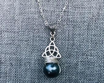 Gray Swarovski Pearl Celtic Necklace.