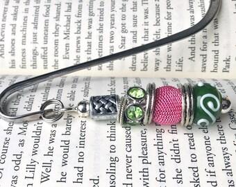 Pink and Green Irish Bookmark.