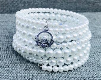 Swarovski Crystals and Pearl Bracelet. Irish Claddagh.