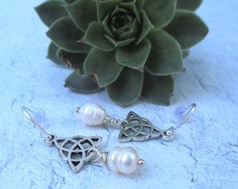 Freshwater Pearl Celtic Earrings. Trinity Knot.