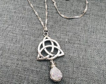 Trinity Knot Wire Wrapped Druzy Necklace. Long Statement Necklace.
