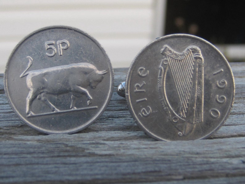 Vintage Coin Cufflinks. Celtic Jewelry Large Silver 5 Pence Irish Coins Celtic Cuff Links