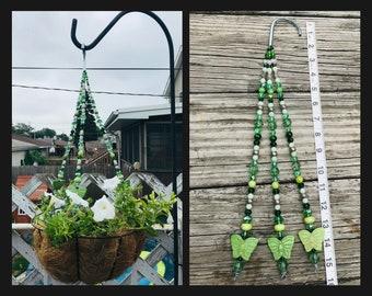 Green Celtic Plant Basket. Crystal Beaded Hanger. Irish Fairy Garden.