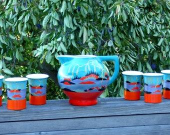 Rare Japanese Kinkozan Porcelain Cannonball Pitcher w/ 6 Tumblers: Surreal Orange, Lavender, Black & Aqua Landscape