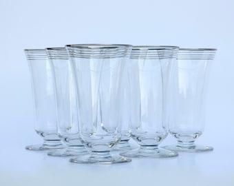 "Rare Salem China ""Zephyr Platinum"" Footed Tumbler Water Glasses: Art Deco Goblets, Set of 6"