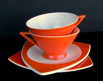 Atomic Art Deco Cups & Saucers: Set of 2 Salem Streamline/Tricorne in Mandarin Orange - Priced by Condition Grade