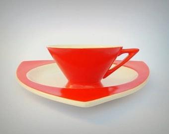 Atomic Art Deco Salem Streamline Cup w/ Tricorne Saucer in Mandarin Orange - Graded & Priced by Condition