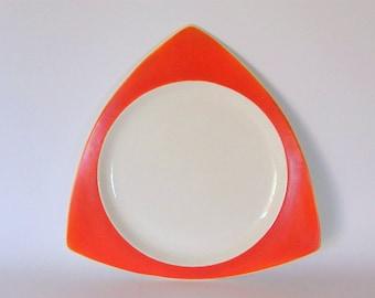 Art Deco Platter: Salem Tricorne in Mandarin Orange - Atomic Triangular Tray or Large Plate Designed by Broomhall, Schreckengost, etc.