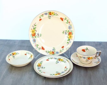 Vintage Leigh Ware Springtime Art Deco Dinnerware Set for 12: 1930s Floral Design on J P Thorley's Umbertone Ceramic, FREE SHIPPING in US