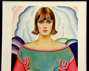 """Vintage Roaring 20s Print of Woman in Pastel Colors: Winold Reiss Art Deco Illustration, """"A Modern Masterpiece"""""""