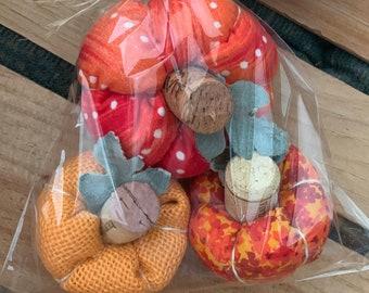 Pumpkins, recycled cork pumpkins, Fall decor