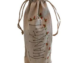 Wine gift bag, Linen gift bag, bottle gift bag
