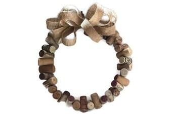 "Upcycled Cork wreath, 11"" cork wreath, wine lovers cork wreath, wine gift"