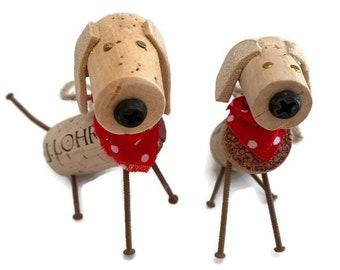 Large breed dog ornament, big dog figure, up cycled large cork  dog