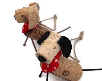Puppy ornament, cork dog