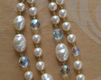 """Faux Pearl, Aurora Borealis Crystal Necklace, Vintage, 36"""" (F6)"""