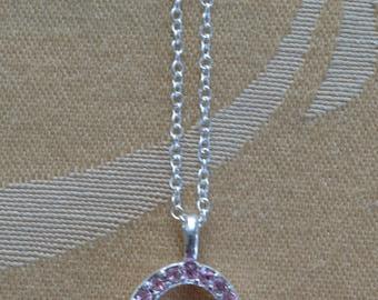 "Pink Rhinestone Heart Necklace., Silver tone, Vintage, 20""  (Q12)"