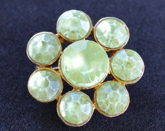 Yellow Green Floral Brooch, Pin, Gold tone, Vintage (B10)